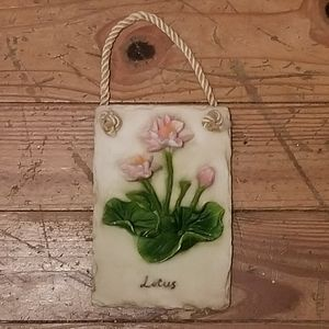 Slate Stone Lotus Flower Floral Wall Hanging